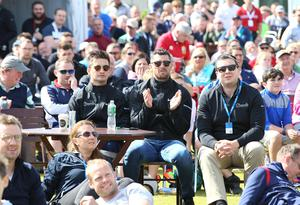 8 July 2017 - Picture by Darren Kidd /Press Eye.     Dubai Duty Free Irish Open Hosted by the Rory Foundation at Portstewart Golf Club, Northern Ireland.  Ireland rugby International Rob Kearney  Fans at the the Dubai Duty Free Irish Open as they watch the Lions v All Blacks on the big screen.