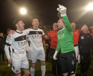 PACEMAKER BELFAST   19/04/2016 Cliftonville v Crusaders  Danske Bank Premiership Crusaders celebrates after winning the League Title at Solitude in Belfast. Photo Colm Lenaghan/Pacemaker Press