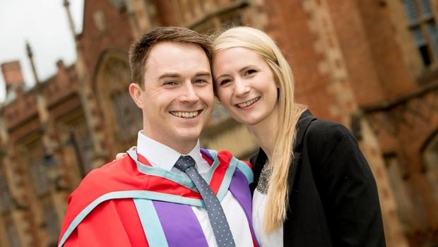 David Crooks celebrated graduation success with a PhD in Civil Engineering, from the School of Natural and Built Environment at Queen's University Belfast. He is pictured with his wife, Suzanne Crooks.
