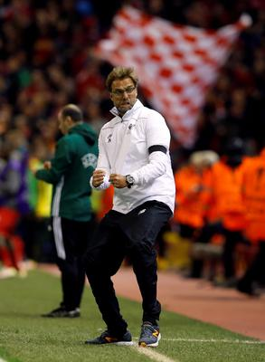 Liverpool manager Jurgen Klopp celebrates his side's third goal during the UEFA Europa League Quarter Final, Second Leg match at Anfield, Liverpool. PRESS ASSOCIATION Photo. Picture date: Thursday April 14, 2016. See PA story SOCCER Liverpool. Photo credit should read: Peter Byrne/PA Wire