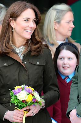 The Duchess of Cambridge receives a posey during a visit to the Teagasc Animal & Grassland Research Centre at Grange, in County Meath, as part of their three day visit to the Republic of Ireland. PA Photo. Picture date: Wednesday March 4, 2020. See PA story ROYAL Cambridge. Photo credit should read: Aaron Chown/PA Wire