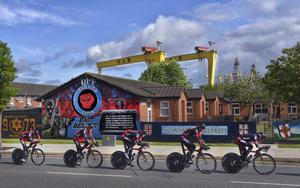 Giro d'Italia team time trial takes place this morning on Belfast's Newtownards road and its famous loyalist murals. Picture Charles McQuillan/Pacemaker.