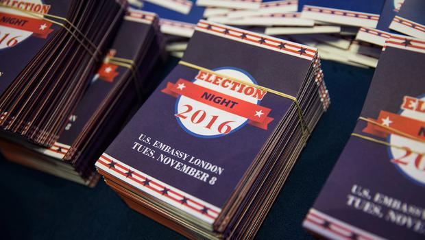 LONDON, ENGLAND - NOVEMBER 08: Information leaflets on display at a US election night party at the United States Embassy on November 8, 2016 in London, England. Americans have gone to the polls today, November 8, to elect the 45th President of the United States. Hillary Clinton represents the Democrats and, if successful, would be the first woman president in American history.  Donald Trump represents the Republicans and his campaign has been dogged by bad publicity, despite this the polls show that either of the two contenders could win with the election too close to call. (Photo by Jack Taylor/Getty Images)