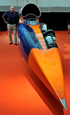 Project director Richard Noble stands with the Bloodhound SSC (supersonic car), on display at Canary Wharf, London. (Nick Ansell/PA Wire)