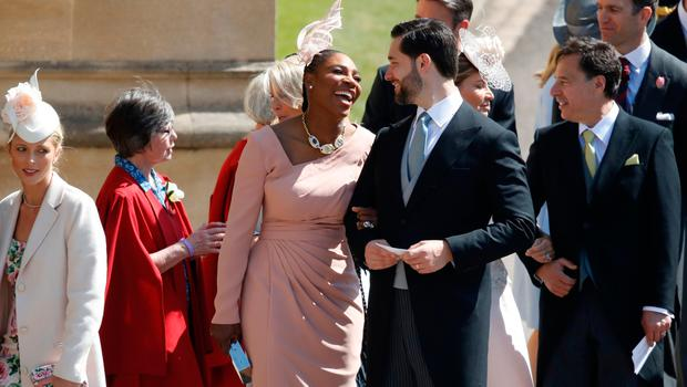 Meghan Markle's friend, US tennis player Serena Williams (CL) and her husband US entrepreneur Alexis Ohanian (CR) arrive for the wedding ceremony of Britain's Prince Harry, Duke of Sussex and US actress Meghan Markle at St George's Chapel, Windsor Castle, in Windsor, on May 19, 2018. / AFP PHOTO / POOL / Odd ANDERSENODD ANDERSEN/AFP/Getty Images