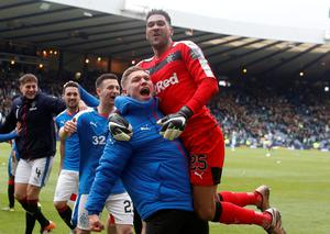 Rangers' Wes Foderingham (right) and Martyn Waghorn celebrate victory after the William Hill Scottish Cup semi-final match at Hampden Park, Glasgow. PRESS ASSOCIATION Photo. Picture date: Sunday April 17, 2016. See PA story SOCCER Rangers. Photo credit should read: Danny Lawson/PA Wire. EDITORIAL USE ONLY