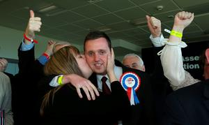 Gary Middleton of the DUP is kissed by his wife Julie after election in Foyle, as counting of votes continues in the the Foyle and East Londonderry constituencies in the Northern Ireland Assembly Elections. PA