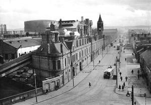 Looking along the Ormeau Road to the gasworks from Short & Harlands recreation club. 19/3/1948