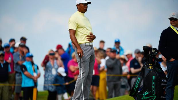 US golfer Tiger Woods practices at The 148th Open golf Championship at Royal Portrush golf club in Northern Ireland on July 15, 2019. (Photo by ANDY BUCHANAN / AFP) / RESTRICTED TO EDITORIAL USEANDY BUCHANAN/AFP/Getty Images