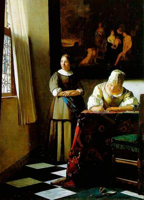 One of the stolen paintings: 'Lady writing a letter with her maid'