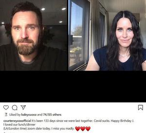 Courteney Cox wishes boyfriend Johnny McDaid a remote happy birthday: 'It's been 133 days since we were last together. Covid sucks'