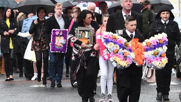 Family and Friends during the funeral of Joleen Corr at St Paul's Church in West Belfast on Tuesday. Joleen Corr was fatally injured in December 2016 in Downpatrick, and in a landmark ruling a judge said her food and drink could be withdrawn because she was in so much pain,  nearly 18 months after she was critically injured. Pic Pacemaker Press
