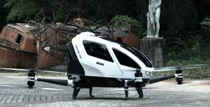 Ehang 184: Passengers can tell the drone to take off or land, but during flight the Ehang 184 is completely autonomous. Image: YouTube