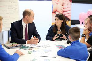The Duke of Cambridge is pictured during his visit to Inspire, a charity and social enterprise which focuses on promoting wellbeing for all across the Island of Ireland. He is pictured talking to teenagers involved in mental health in sport. Photo by Kelvin Boyes   / Press Eye