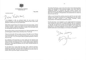 Letter written by Prime Minister Boris Johnson to veterans to mark VE Day (10 Downing St/PA)