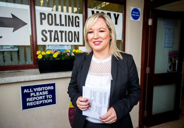 Sinn Fein leader in Northern Ireland Michelle O'Neill arrives at a polling station at St Patrick's primary school in Annaghmore, Clonoe to cast her vote in the General Election.  Liam McBurney/PA Wire