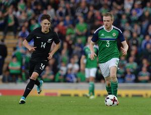 PACEMAKER BELFAST  02/06/2017 Northern Ireland v New Zealand Friendly International Northern Ireland's   Shane Ferguson and New Zealand's Ryan Thomas during this evenings game at the National Stadium Windsor Park. Photo Colm Lenaghan/Pacemaker Press