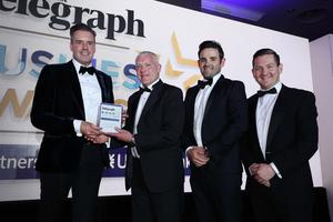 Press Eye - Belfast - Northern Ireland - 2nd May 2019 -   The Belfast Telegraph Business Awards in association with Ulster Bank at the Crowne Plaza Hotel, Belfast.  Excellence in Innovation Sponsored by MCL Insurance Ltd Peter Johnston, Aidan Larkin and Mark Woods from Wilsons Auctions Presented by Stephen Lamb, Marketing Doirector  Photo by Kelvin Boyes / Press Eye.