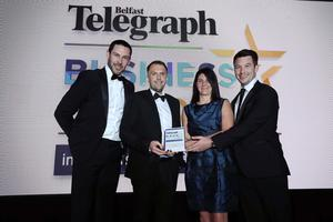 Press Eye - Belfast - Northern Ireland - 2nd May 2019 -   The Belfast Telegraph Business Awards in association with Ulster Bank at the Crowne Plaza Hotel, Belfast.   Best Use of Digital and/or Social Media Sponsored by Sparq Richard McKnight, Chris Lavery and Mark Lilley from Groundswell/Neurovalens Presented by Cara Pennell  Photo by Kelvin Boyes / Press Eye.