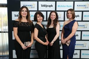 Press Eye - Belfast - Northern Ireland - 2nd May 2019 -   Grainne McGarvey, Margaret Canning, Gail Walker and Sarah Little pictured at the Belfast Telegraph Business Awards in association with Ulster Bank at the Crowne Plaza Hotel, Belfast. Photo by Kelvin Boyes / Press Eye.