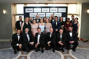 Press Eye - Belfast - Northern Ireland - 2nd May 2019 -   Staff from Version 1 pictured at the Belfast Telegraph Business Awards in association with Ulster Bank at the Crowne Plaza Hotel, Belfast. Photo by Kelvin Boyes / Press Eye.