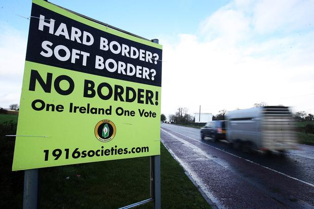 Press Eye - Belfast - Northern Ireland - 26th January 2019  Ahead of the Brexit deadline and the question over what will happen to the border between Northern Ireland and the Republic of Ireland anti Brexit signage is seen on the border crossing on the old Dublin Road outside Newry.   Picture by Jonathan Porter/PressEye