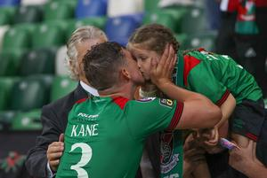 Pacemaker - Belfast -  -31/07/2020.         Sadler's Peaky Blinder Irish Cup. Final  Glentoran's Marcus Kane with family In tonight's game      Photo Desmond Loughery/Pacemaker Press