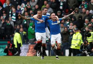 Rangers' Barrie McKay (right) celebrates scoring his sides second goal during the William Hill Scottish Cup semi-final match at Hampden Park, Glasgow. PRESS ASSOCIATION Photo. Picture date: Sunday April 17, 2016. See PA story SOCCER Rangers. Photo credit should read: Danny Lawson/PA Wire. EDITORIAL USE ONLY