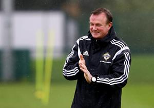 Northern Ireland manager Michael O'Neill during Mondays training session at Queens Sports Pavillion ahead of Thursdays UEFA Euro 2016 Qualifier against Greece