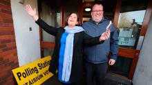 Sinn Fein President Mary Lou McDonald, with local councillor Seamas McGrattan, arrives to cast her vote in the Irish General Election at St. Joseph's School in Dublin. PA Photo. Niall Carson/PA Wire