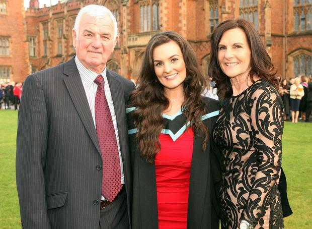 Mandatory Credit - Picture by Freddie Parkinson/Press Eye © Thursday 8th December 2016 Graduations take place at Queens University in Belfast. Sarah Harpur from Tyrone with her parents Thomas and Christina