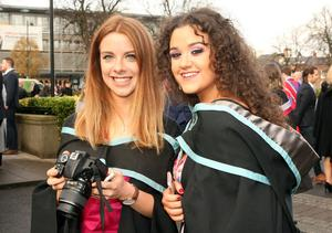 Mandatory Credit - Picture by Freddie Parkinson/Press Eye © Thursday 8th December 2016 Graduations take place at Queens University in Belfast. Lucy Crossan from Belfast and Ashling McCann from Glenavey