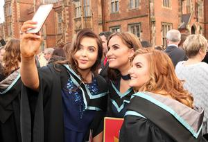 Mandatory Credit - Picture by Freddie Parkinson/Press Eye © Thursday 8th December 2016 Graduations take place at Queens University in Belfast. Bronagh Agnew, Melessia Donnelly and Anna Cleland