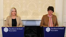 First Minister Arlene Foster and Deputy First Minister Michelle O'Neill speak to the press at Stormont Castle regarding the ongoing issues with the Coronavirus Pandemic. Picture by Jonathan Porter/PressEye