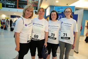Press Eye - Belfast -  Northern Ireland - 24th June 2015 -  Rome Dobbin, Brenda McKay-Redmond, Joanne Heffron and Nuala McKay at the first ever Grant Thornton Runway Run at Belfast City Airport this evening. Picture by Kelvin Boyes / Press Eye.