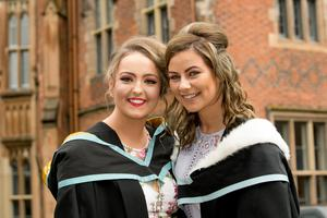 Sian McElhone and Shanneen McParland are both celebrating graduation success as they graduate with a degree in Early Childhood Studies from Stranmillis University College of Queens University Belfast