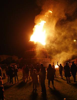 The Lower Shankill bonfire is lit during July 12th celebrations in Belfast , 2016 ( Photo by Kevin Scott / Belfast Telegraph)
