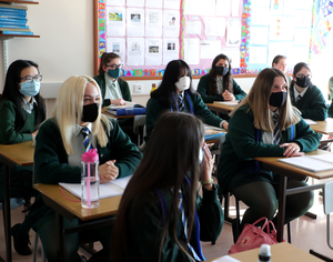 Pupils from Bloomfield Collegiate School Belfast are back at school today for the first time since March