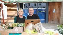 Portadown 2000.  Jackie Hannon and husband John on their Fruit and Veg stall in William Street Portadown market. Picture Colm O'Reilly
