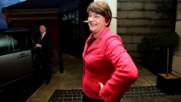 Arlene Foster, Northern Ireland Finance Minister arrives at a hotel in Belfast to be elected leader of the Democratic Unionist Party (DUP) on December 17, 2015. A special electoral college will gather at the hotel, and Foster is the only candidate for the leadership. Foster will replace Peter Robinson following his announcement that he will step down as Northern Ireland's First Minister and as leader of the DUP.  AFP PHOTO / PAUL FAITHPAUL FAITH/AFP/Getty Images