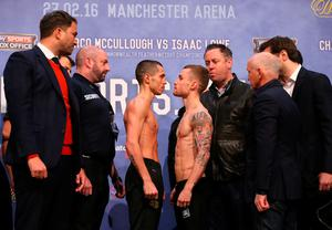 MANCHESTER, ENGLAND - FEBRUARY 26:  Carl Frampton and Scott Quigg go face to face at the weigh-in ahead of their Super-Bantamweight fight at the at Manchester Arena on February 26, 2016 in Manchester, England.  (Photo by Alex Livesey/Getty Images)