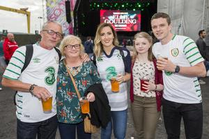 Republic of Ireland fans at the Titanic Fanzone to see their team play Italy in the 2016 Euro Championship in France. Wednesday 22nd June 2016. Picture by Liam McBurney/RAZORPIX