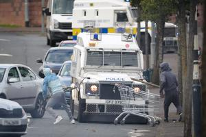 General view of the North Queen Street area of the New Lodge as disturbances broke out between the PSNI and Nationalist youths. PSNI officers searched the area for petrol bombs and missiles. Photo by Kelvin Boyes / Press Eye.