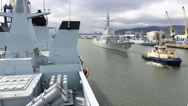 The Standing NATO Maritime Group One (SNMG1) has recently completed the Joint Warrior Exercise in Scotland.  Three of the large NATO warships visit Belfast in the period May 4-6.  SNMG1 is one of NATO's two deployable frigate forces. SNMG1 is at all times ready to perform tasks ranging from exercises to operational missions. In order to have this range of capability, SNGM1 consists of warships like the Canadian HMCS St John's which is a submarine hunter and like the Spanish ESPS Alvaro De Bazan a high end multipurpose frigate optimised for anti-air warfare.  The three additional ships currently in SNMG1 are HDMS NIELS JUEL a very modern air defence frigate, the Turkish TCG GEDIZ a thoroughly modernized G-class frigate and the agile and modern FGS ERFURT, a German corvette. Picture By: Arthur Allison/Pacemaker.