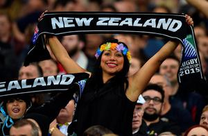 A New Zealand supporter waves before a Pool D match of the 2015 Rugby World Cup between New Zealand and Namibia at the Olympic stadium, east London on September 24, 2015. AFP/Getty Images