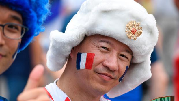 A France's supporter poses ahead of the Russia 2018 World Cup final football match between France and Croatia at the Luzhniki Stadium in Moscow on July 15, 2018. / AFP PHOTO / Kirill KUDRYAVTSEVKIRILL KUDRYAVTSEV/AFP/Getty Images
