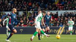 Celtic'ss Ryan Christie scores his side's second goal of the game. Credit: Ian Rutherford/PA Wire