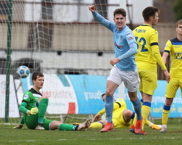 Ballymena's Trai Hume was delighted at finding the back of the net against Dungannon Swifts (Desmond Loughery/Pacemaker Press)