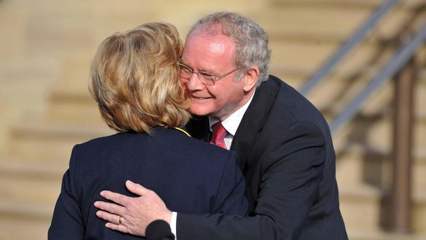 Pacemaker Press 12/10/09 Secretary Of State of the US Hilary Clinton after a meeting with  Deputy First Minister Martin McGuinness  at Stormont Castle during her  visit Belfast Pic Colm Lenaghan/ Pacemaker