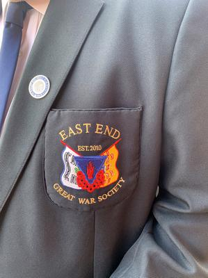 PACEMAKER BELFAST  08/05/2020 Organised by he East End Great war Society members gathered at the War Memorial on the Woodstock Road this morning to remember those who had fallen in the two World Wars and to celebrate and mark VE Day. Wreaths were laid by various associations. Speachs were made and bugler Jonathan Spence marked the minutes silence by playing the Last Post.